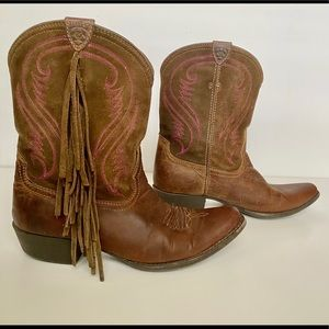 Ariat Brown Leather Fringe Boots